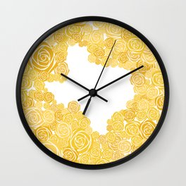Texas Yellow Rose Outline Wall Clock