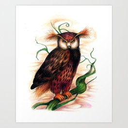 Sunset owl Art Print