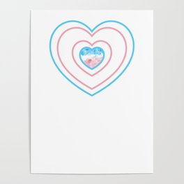 Gay Pride LGBT Transgender Love Heart Stripes design Poster