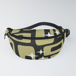 Retro Mid Century Modern Abstract Pattern 676 Black Gold Fanny Pack