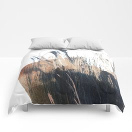 Clarity: a pretty, minimal abstract in rose gold and deep blue Comforters