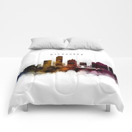 Milwaukee Watercolor Skyline Comforters