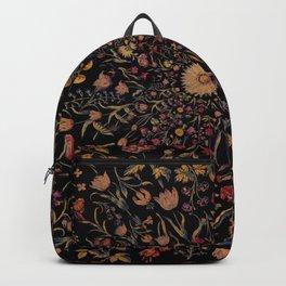 Medieval Flowers on Black Backpack