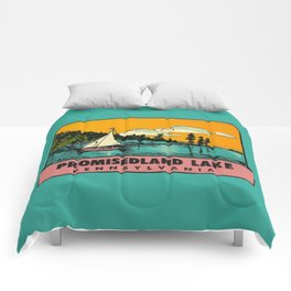 Vintage Retro Camping Promisedland Wanderlust Comforters