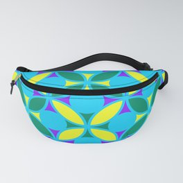 Geometric Floral Circles Vibrant Color Challenge In Bold Purple Yellow Green & Turquoise Blue Fanny Pack
