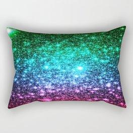 glitter Cool Tone Ombre (green blue purple pink) Rectangular Pillow