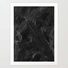 Feathered (Black). Art Print
