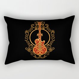 Intricate Red and Yellow Electric Guitar Design Rectangular Pillow