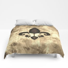 Sepia Gold and Brown Fleur de Lis with Butterfly Comforters