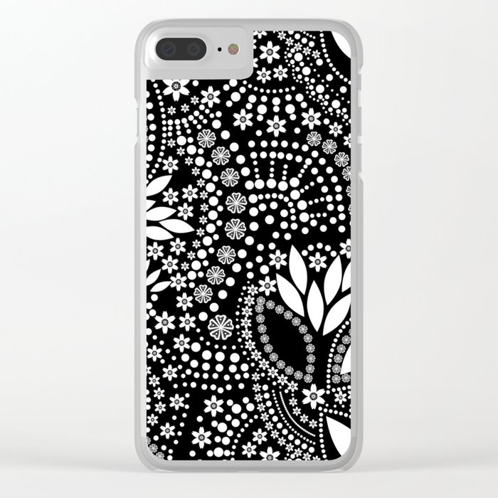 Placer of white beads on a black background . Clear iPhone Case