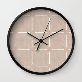 Block Print Simple Squares in Tan Wall Clock