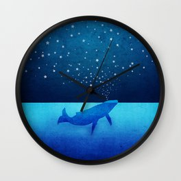 Whale Spouting Stars - Magical & Surreal Wall Clock