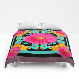 Western Black & Puce Pink Flower Blue Butterfly Yellow Floral Art Comforters