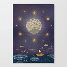 Sailing under the moon Canvas Print