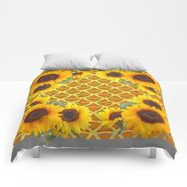 GOLDEN SUNFLOWERS  GREY ART PATTERN DESIGN Comforters