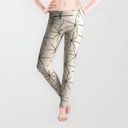 Stella - Atomic Age Mid Century Modern Starburst Pattern in Charcoal Gray and Almond Cream Leggings
