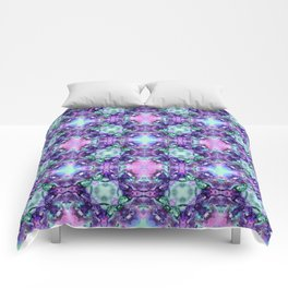 Purple and Turquoise Fractal Art Comforters