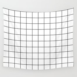 Grid Simple Line White Minimalist Wall Tapestry