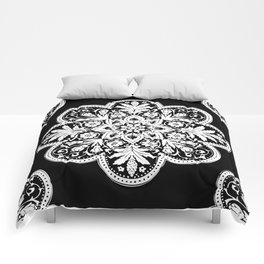 Floral Doily Pattern | Black and White Comforters