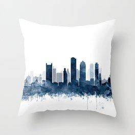 Boston City Skyline Blue Watercolor by zouzounioart Throw Pillow