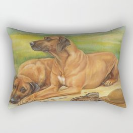 Rhodesian Ridgeback Dog portrait in scenic landscape Painting Rectangular Pillow