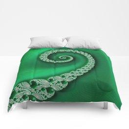 Christmas Green Golden Spiral - Fractal Art Comforters