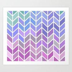 blue & purple chevron Art Print