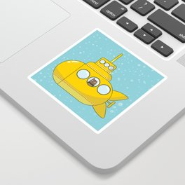 Yellow submarine with a cat and bubbles Sticker