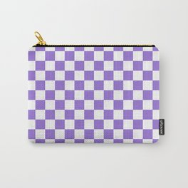 Small Checkered - White and Dark Pastel Purple Carry-All Pouch