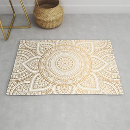 Gold Mandala Pattern Illustration With White Shimmer Rug