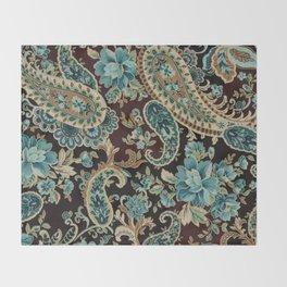 Brown Turquoise Paisley Throw Blanket