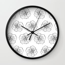 Hibiscus Flower Black and White Repeat Pattern Wall Clock