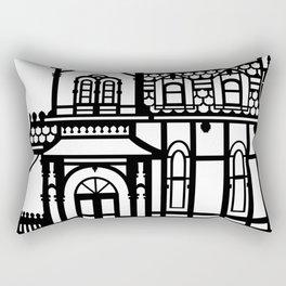 Old Victorian House - black & white Rectangular Pillow