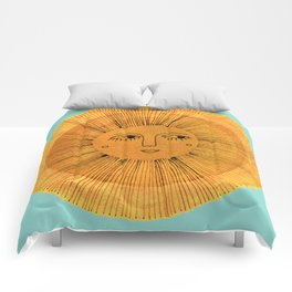 Sun Drawing - Gold and Blue Comforters