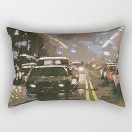 Rainy night between traffic Rectangular Pillow