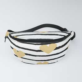 cute pattern with hand drawn gold hearts on black and white stripes Fanny Pack