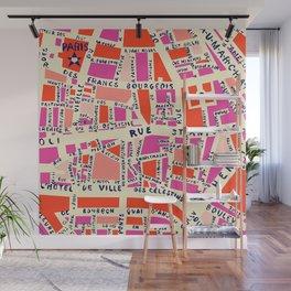 paris map pink Wall Mural