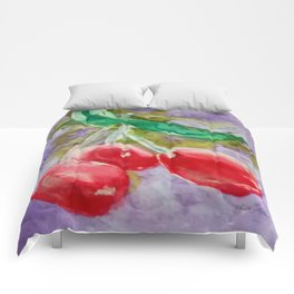Red Cherries on Purple watercolor by CheyAnne Sexton Comforters