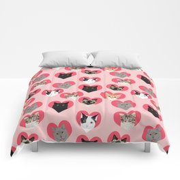 Cat faces love hearts valentines day gifts for cat lovers must have cats Comforters