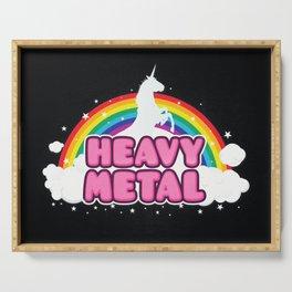 HEAVY METAL! (Funny Unicorn / Rainbow Mosh Parody Design) Serving Tray