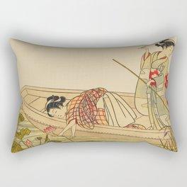 Women Gathering Lotus Blossoms Rectangular Pillow