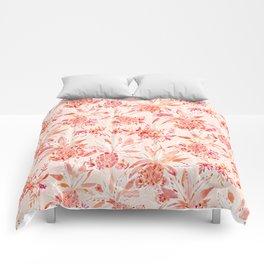 PINEAPPLE JUICE Peach Tropical Floral Comforters