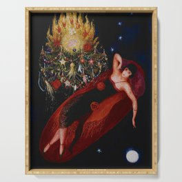 Stars & Moon (Portrait of my Crazy Sister) by Florine Stettheimer Serving Tray