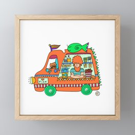 fish and chips food truck Framed Mini Art Print