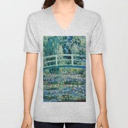 Claude Monet - Water Lilies And Japanese Bridge Unisex V-Neck