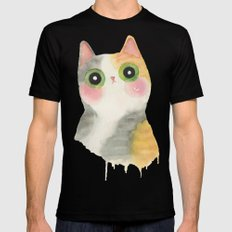 calico cat Black Mens Fitted Tee SMALL