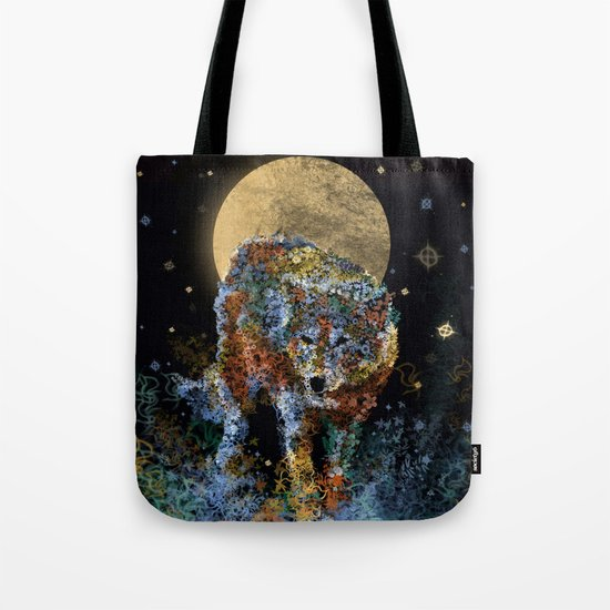 floral animals wolf and stars Tote Bag