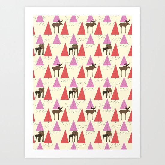 Moose Family 2 Art Print