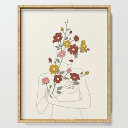 Colorful Thoughts Minimal Line Art Woman with Wild Roses Serving Tray
