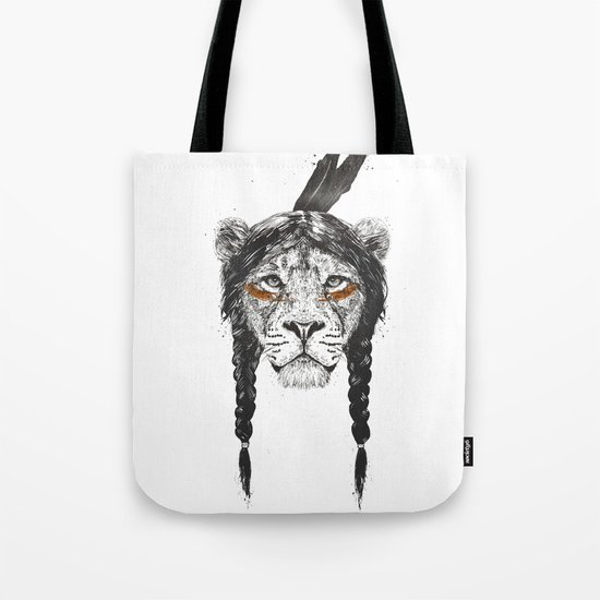 Warrior lion Tote Bag